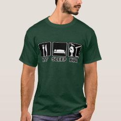Men's Basic Dark T-Shirt with Eat Sleep Bird (blind) design