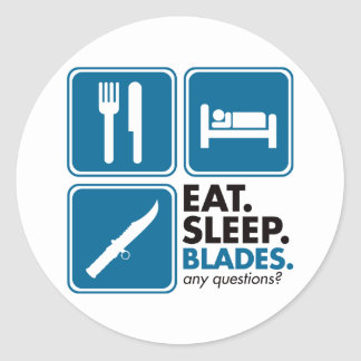 Eat Sleep Blades - Blue Stickers