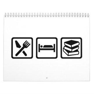 Eat sleep books calendar