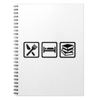 Eat sleep books notebook