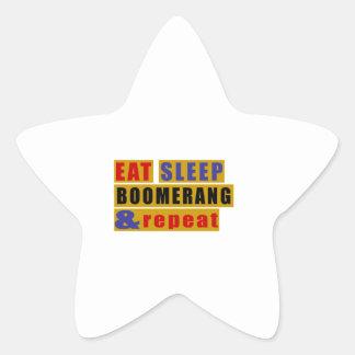 EAT SLEEP BOOMERANG AND REPEAT STAR STICKER