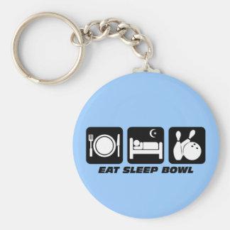 Eat sleep bowl basic round button keychain