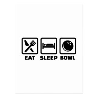 Eat sleep bowl bowling postcard