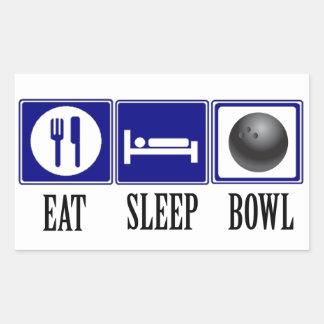 Eat, Sleep, Bowl Rectangular Sticker
