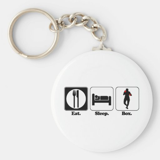 eat sleep box basic round button keychain