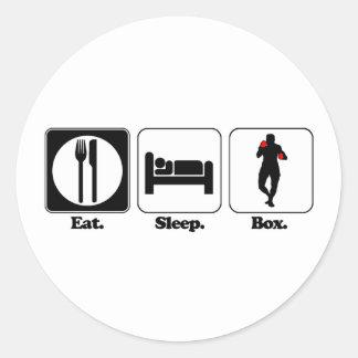 eat sleep box classic round sticker