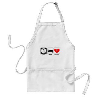 eat sleep break hearts apron