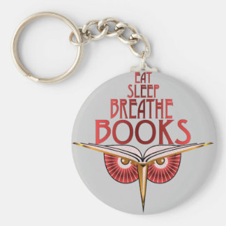 Eat Sleep Breathe Books Keychain