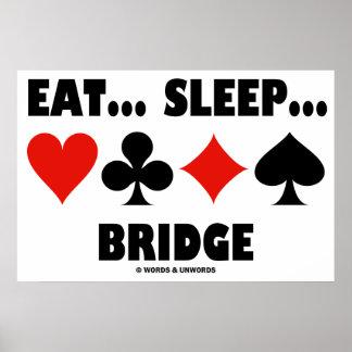 Eat... Sleep... Bridge (Bridge Humor Card Suits) Poster