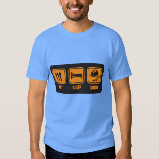 Eat Sleep build in orange funny slogan t-shirt