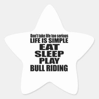 EAT SLEEP BULL RIDING STAR STICKER