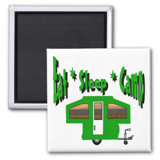 Eat Sleep Camp 2 Inch Square Magnet