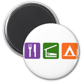 Eat Sleep Camping 2 Inch Round Magnet