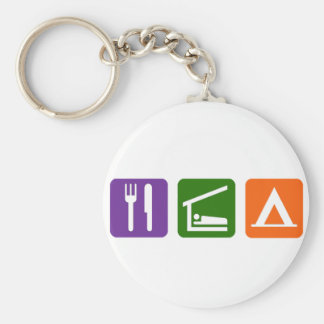 Eat Sleep Camping Basic Round Button Keychain