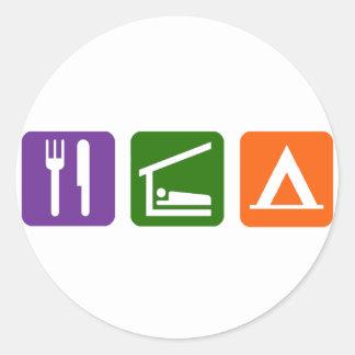 Eat Sleep Camping Classic Round Sticker