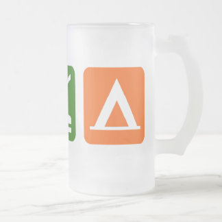 Eat Sleep Camping Frosted Glass Beer Mug