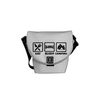 Eat sleep camping messenger bag