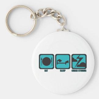 Eat Sleep Chase Storms Keychain