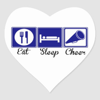 Eat, Sleep, Cheer Heart Stickers