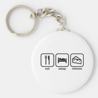 Eat Sleep Cheese Basic Round Button Keychain