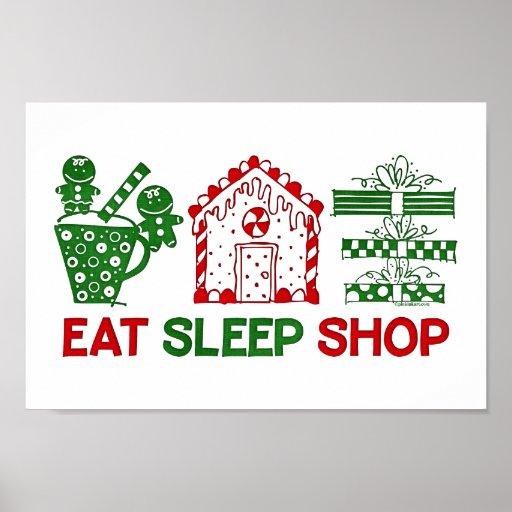 Eat sleep christmas shop poster zazzle