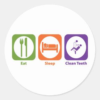Eat Sleep Clean Teeth Round Sticker