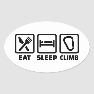 Eat sleep climb oval sticker