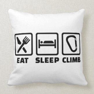 Eat sleep climb throw pillow