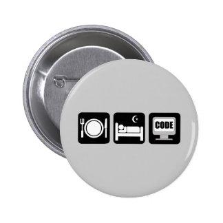 eat sleep code 2 inch round button
