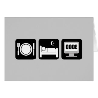 eat sleep code card