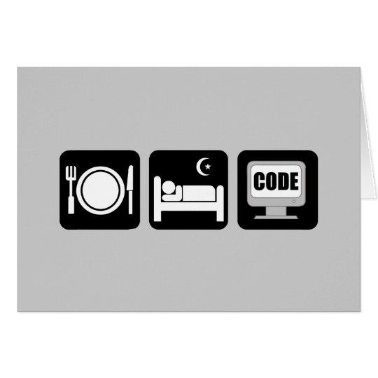 eat sleep code card