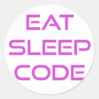 Eat Sleep Code Classic Round Sticker