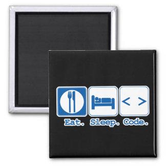 eat sleep code (html) 2 inch square magnet