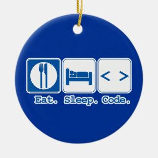 eat sleep code (html) ceramic ornament