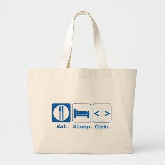 eat sleep code (html) jumbo tote bag