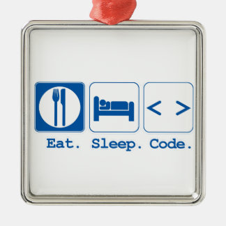 eat sleep code (html) square metal christmas ornament