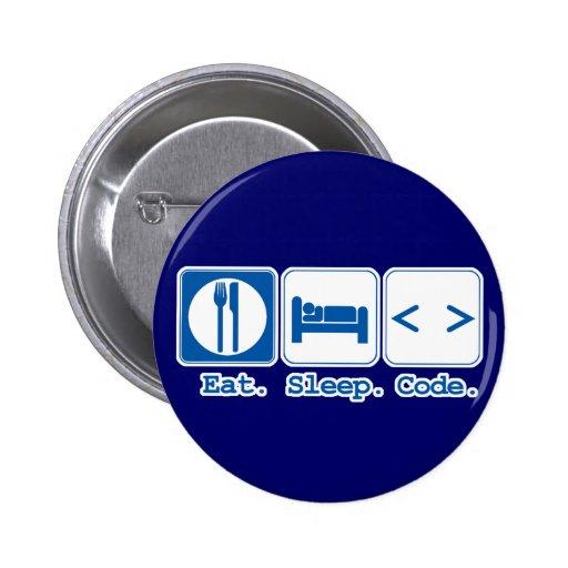 eat sleep code (html) pinback button