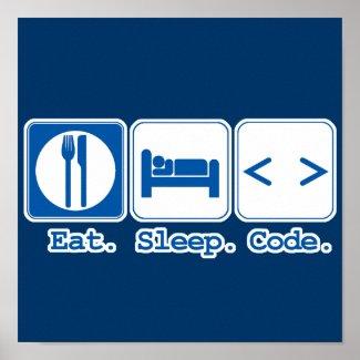 eat sleep code (html) posters