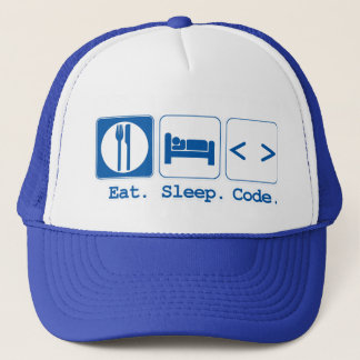 eat sleep code (html) trucker hat