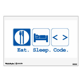 eat sleep code (html) wall sticker
