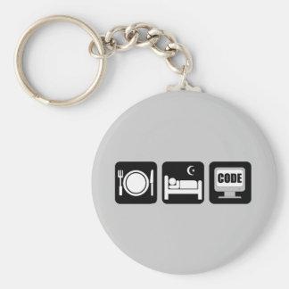 eat sleep code keychains