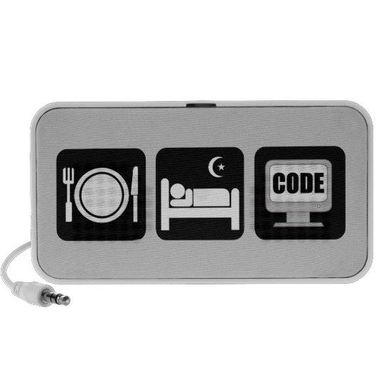 eat sleep code mini speaker
