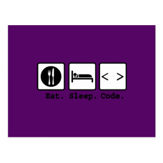 eat sleep code Nerd Wear Post Cards