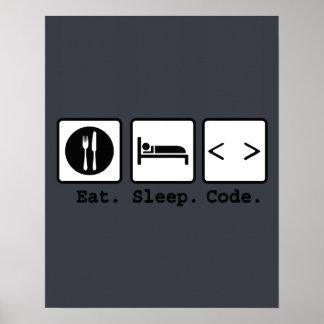 eat sleep code Nerd Wear Poster