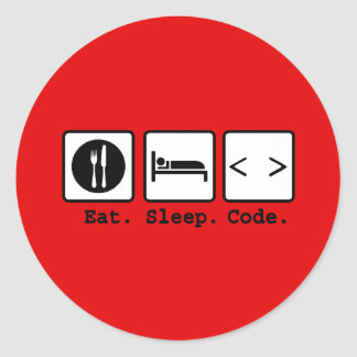 eat sleep code Nerd Wear Stickers