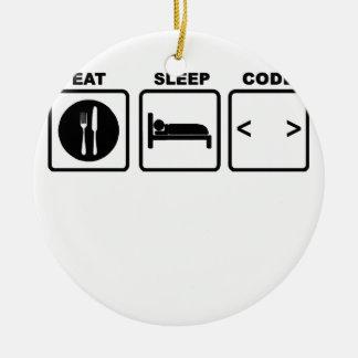 eat sleep code Nerd Wear T-Shirts.png Ceramic Ornament