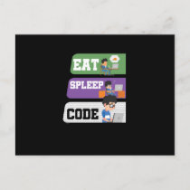 Eat Sleep Code Programmer Holiday Postcard