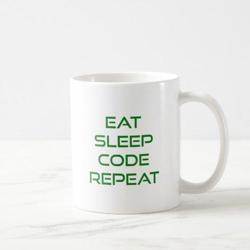 Eat Sleep Code Repeat Classic White Coffee Mug