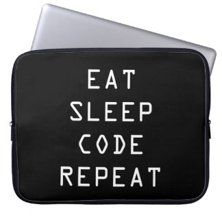 EAT SLEEP CODE REPEAT laptop sleeve for programmer