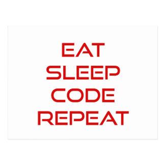 Eat Sleep Code Repeat Postcard